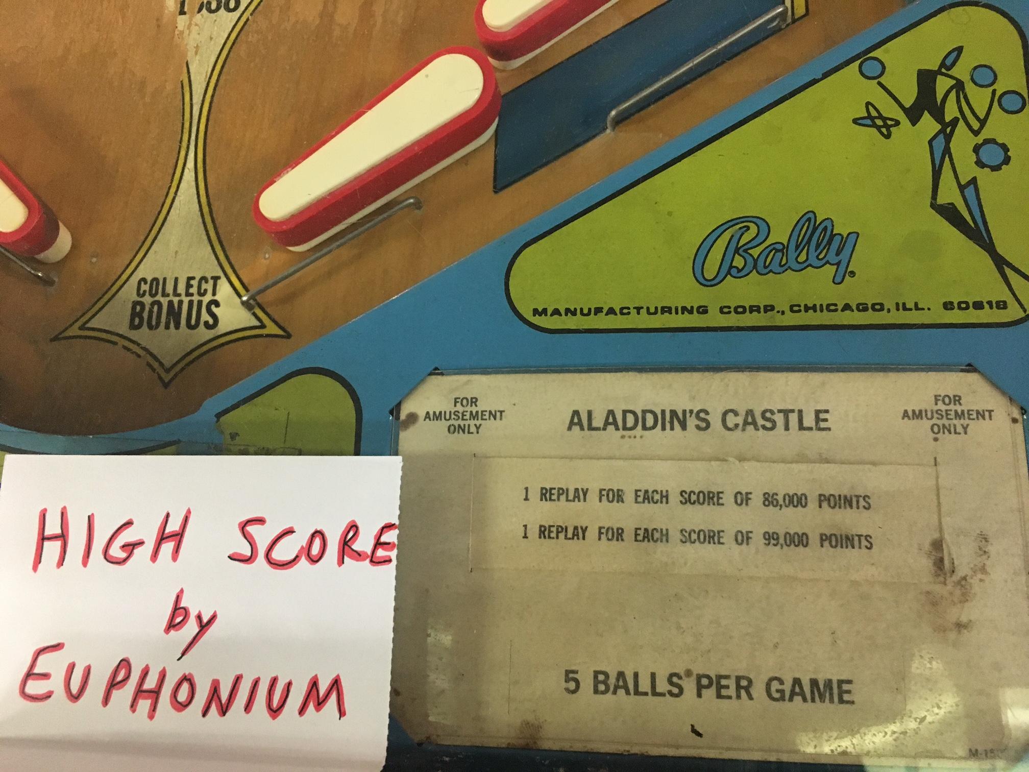euphonium: Aladdin's Castle (Pinball: 5 Balls) 96,640 points on 2018-10-03 17:45:58