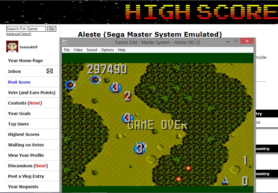 FosterAMF: Aleste (Sega Master System Emulated) 297,490 points on 2015-07-24 23:59:53