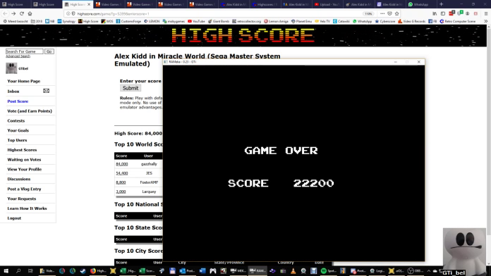 GTibel: Alex Kidd in Miracle World (Sega Master System Emulated) 22,200 points on 2019-09-27 06:35:09