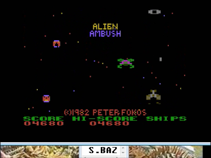 S.BAZ: Alien Ambush (Atari 400/800/XL/XE Emulated) 4,680 points on 2016-05-01 22:37:30