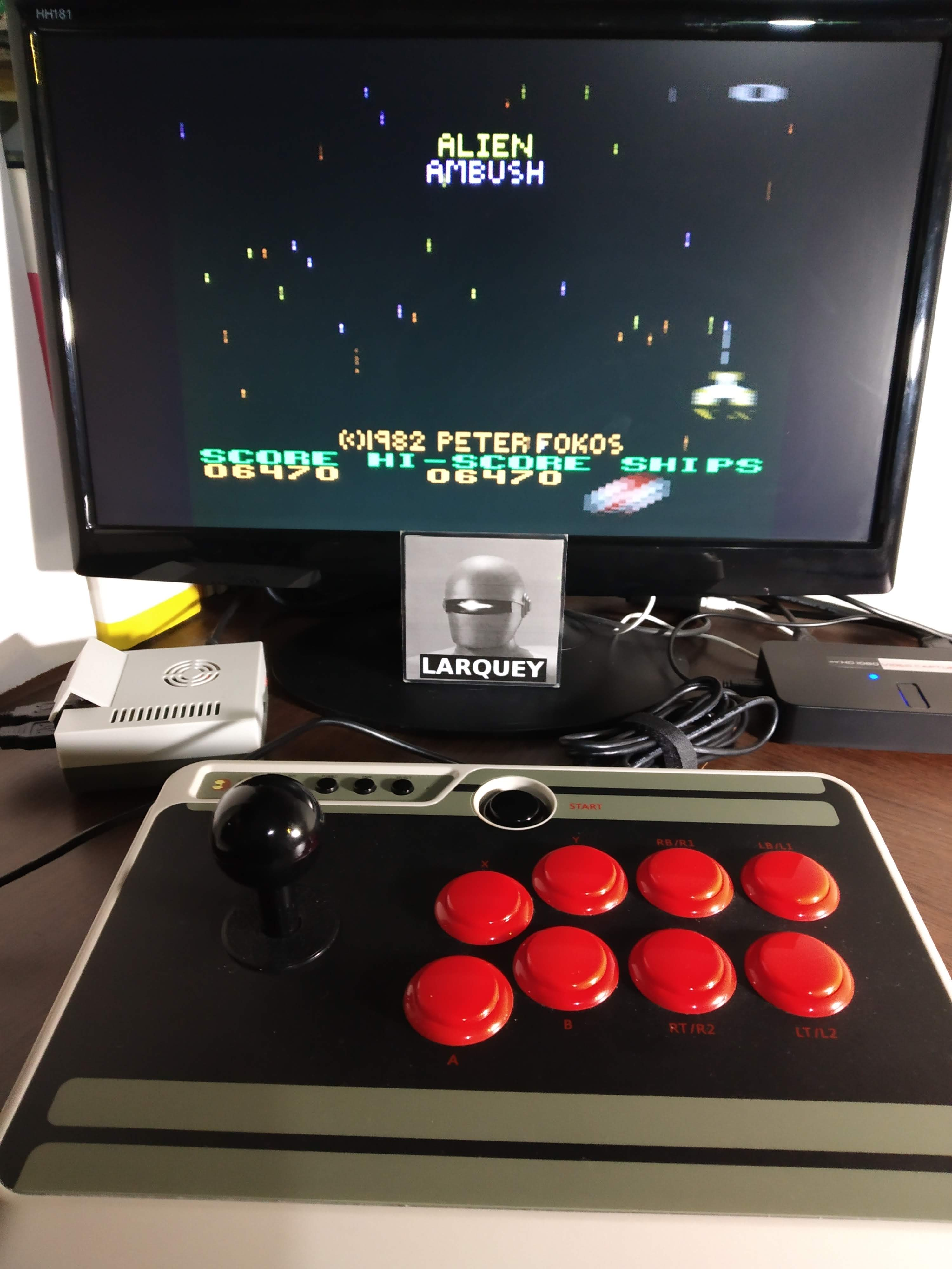 Larquey: Alien Ambush (Atari 400/800/XL/XE Emulated) 6,470 points on 2019-11-18 15:52:56