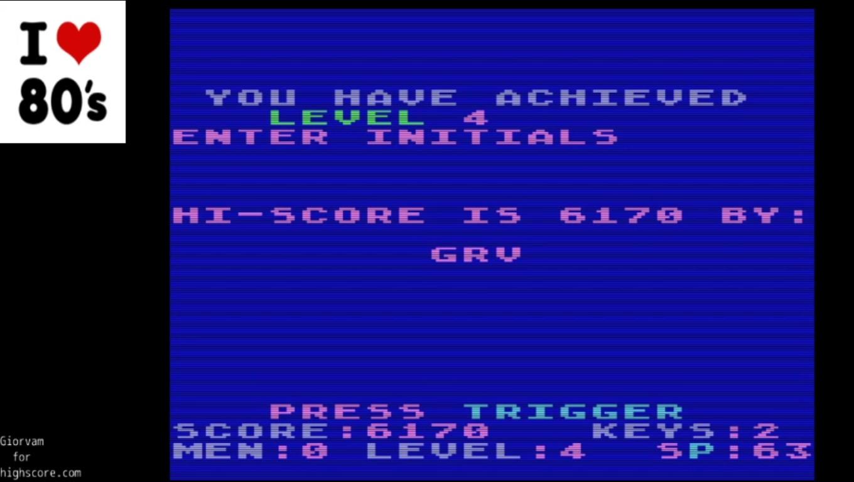 Giorvam: Alien Asylum (Atari 400/800/XL/XE Emulated) 6,170 points on 2020-01-11 12:16:53