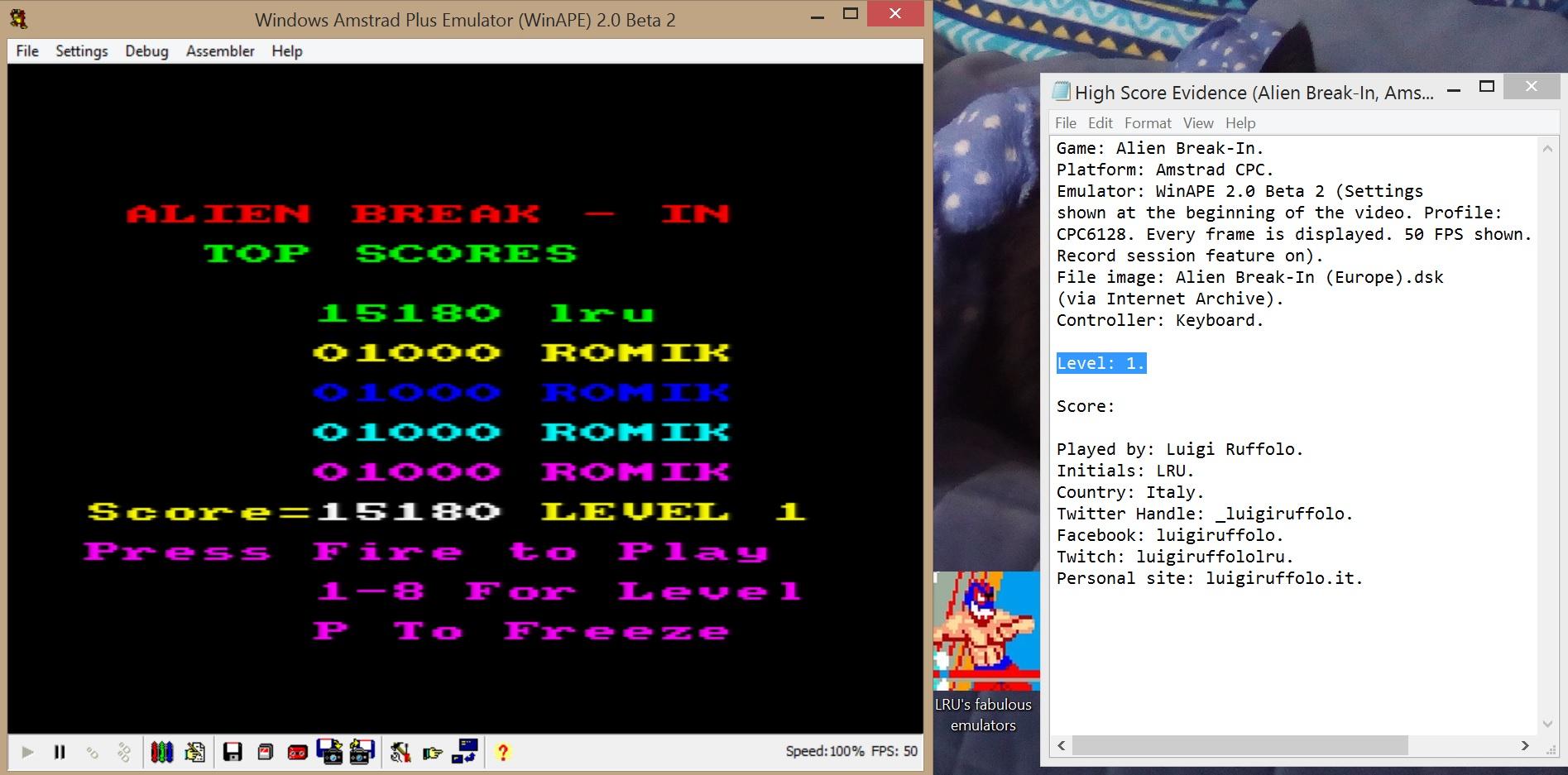 LuigiRuffolo: Alien Break-In [Level 1] (Amstrad CPC Emulated) 15,180 points on 2020-07-05 04:11:19