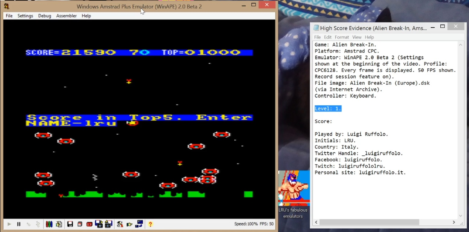 LuigiRuffolo: Alien Break-In [Level 1] (Amstrad CPC Emulated) 21,590 points on 2020-07-06 08:13:02