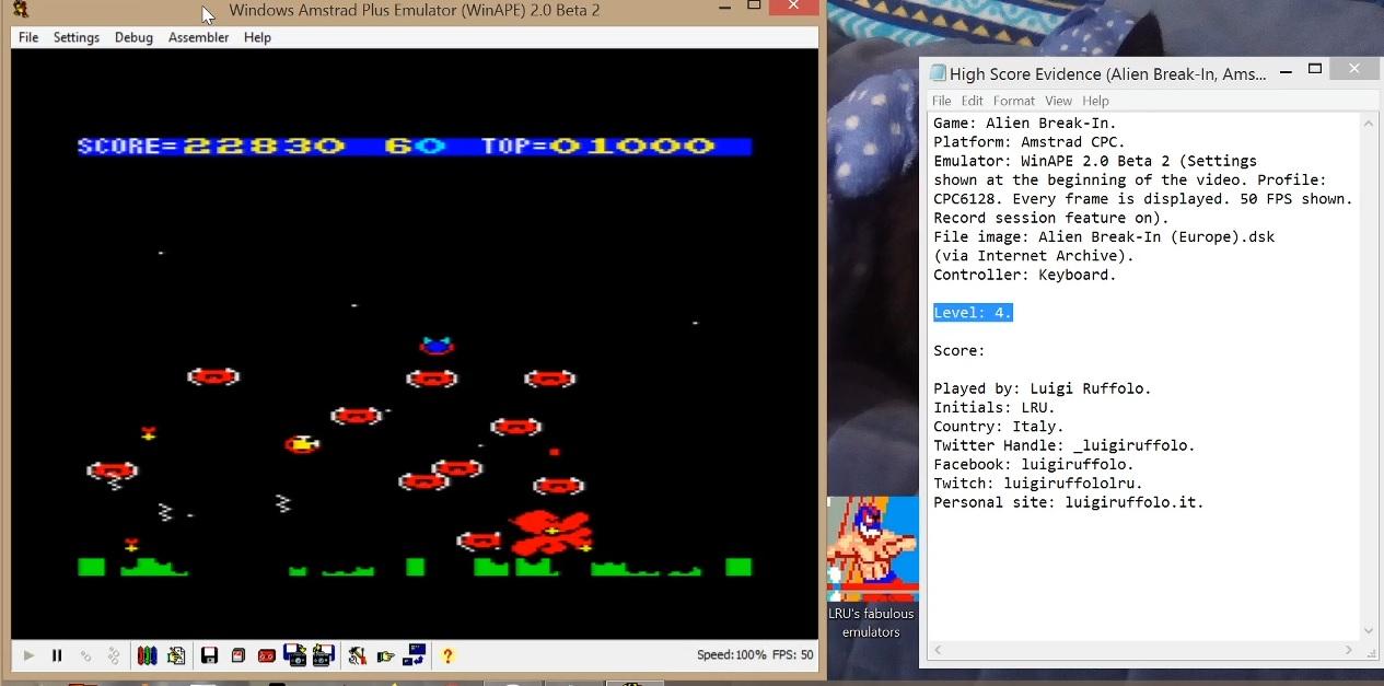 LuigiRuffolo: Alien Break-In [Level 4] (Amstrad CPC Emulated) 22,830 points on 2020-07-08 02:20:38
