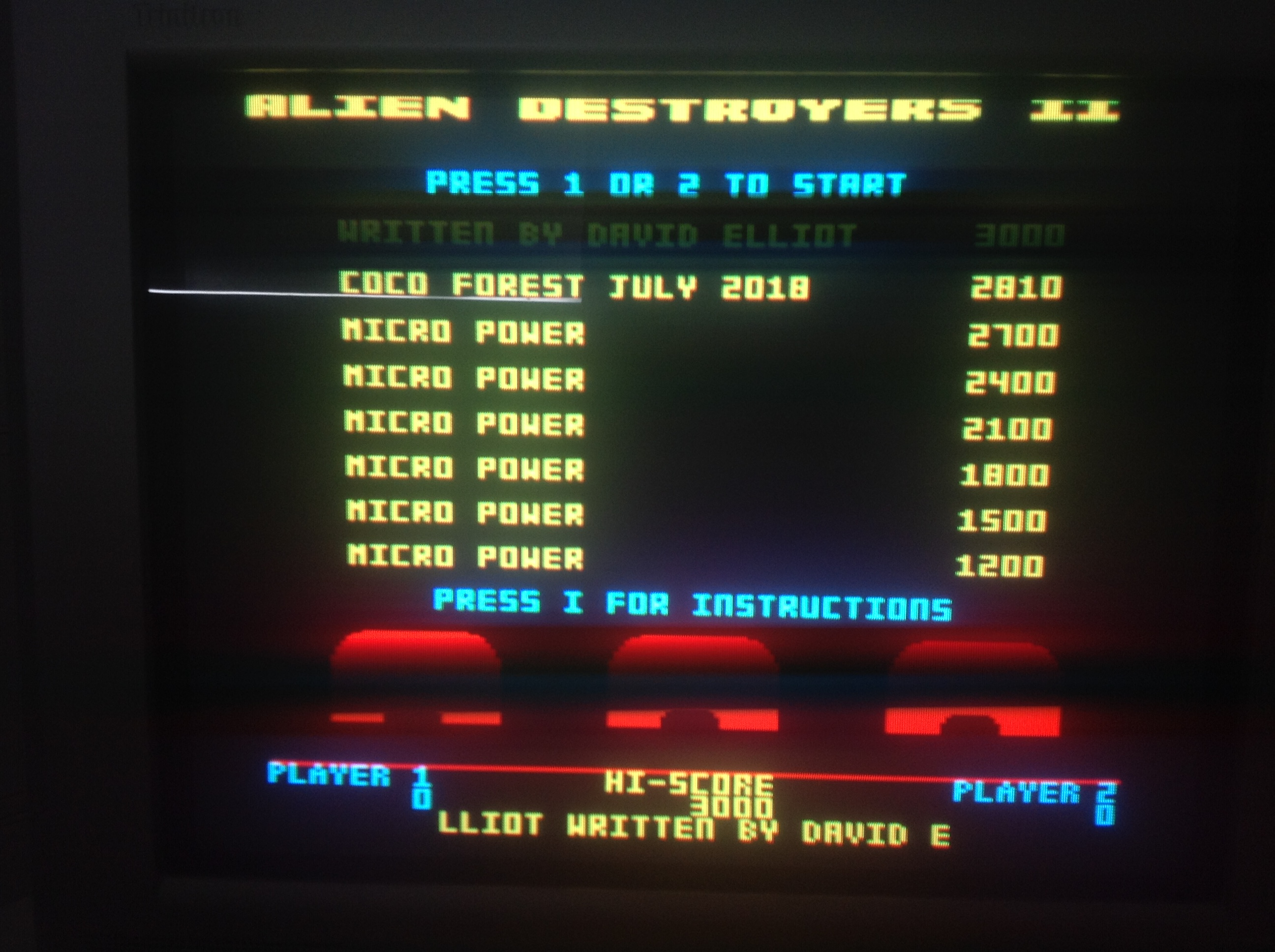 CoCoForest: Alien Destroyers 2 (BBC Micro) 2,810 points on 2018-07-02 08:00:30