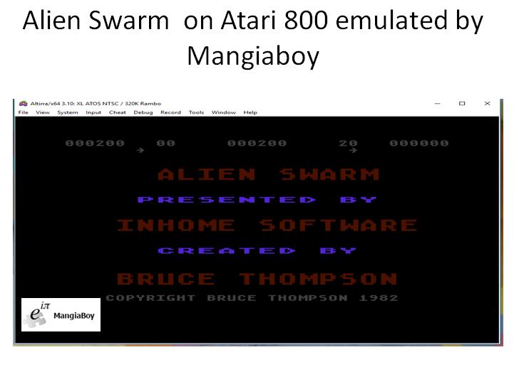 MangiaBoy: Alien Swarm [Beginner] (Atari 400/800/XL/XE Emulated) 200 points on 2018-11-07 05:01:53