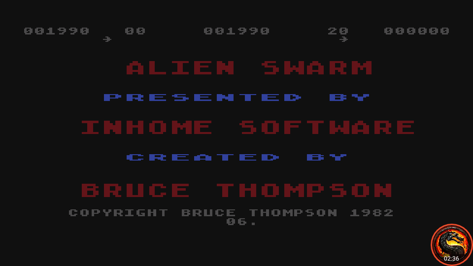 omargeddon: Alien Swarm - Version 6 [Beginner] (Atari 400/800/XL/XE Emulated) 1,990 points on 2020-05-24 17:54:19