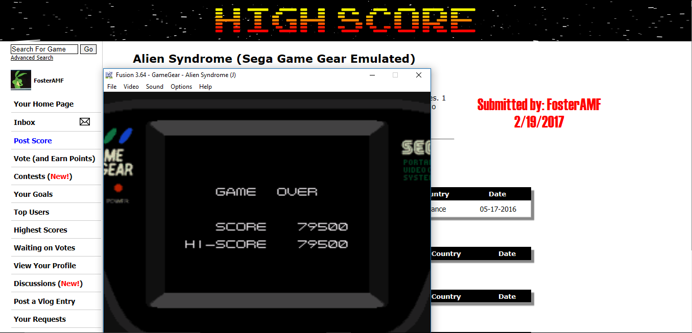 FosterAMF: Alien Syndrome (Sega Game Gear Emulated) 79,500 points on 2017-02-19 15:45:10