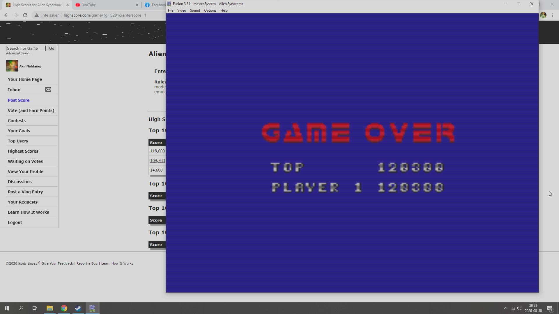 AkinNahtanoj: Alien Syndrome (Sega Master System Emulated) 120,300 points on 2020-08-30 13:48:33