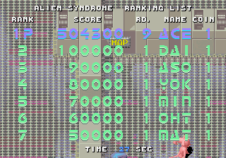 Dumple: Alien Syndrome [aliensyn] (Arcade Emulated / M.A.M.E.) 504,300 points on 2016-08-20 23:20:57
