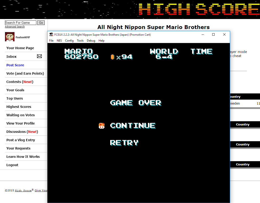 FosterAMF: All Night Nippon Super Mario Brothers (NES/Famicom Emulated) 602,750 points on 2015-09-04 14:04:00