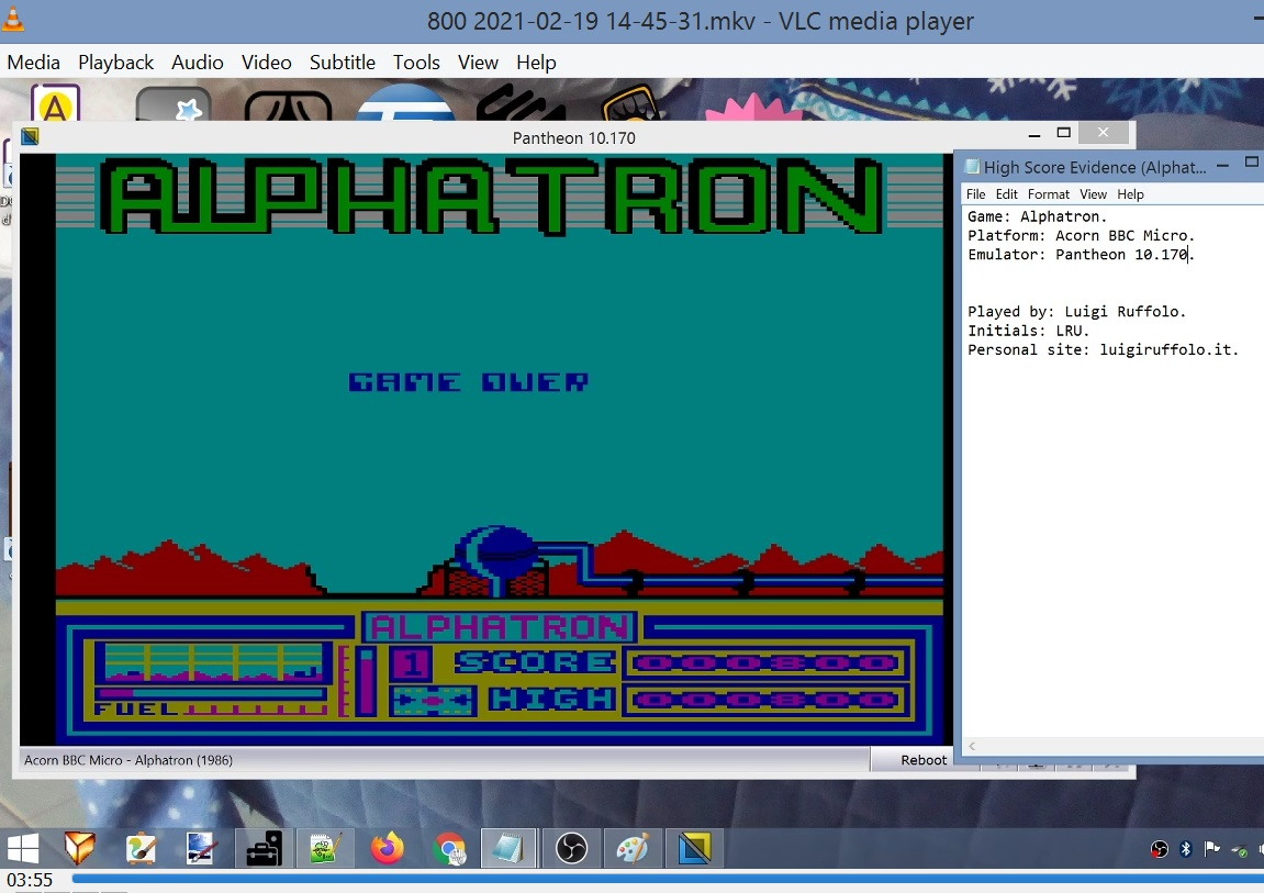 LuigiRuffolo: Alphatron (BBC Micro Emulated) 800 points on 2021-02-19 07:55:53