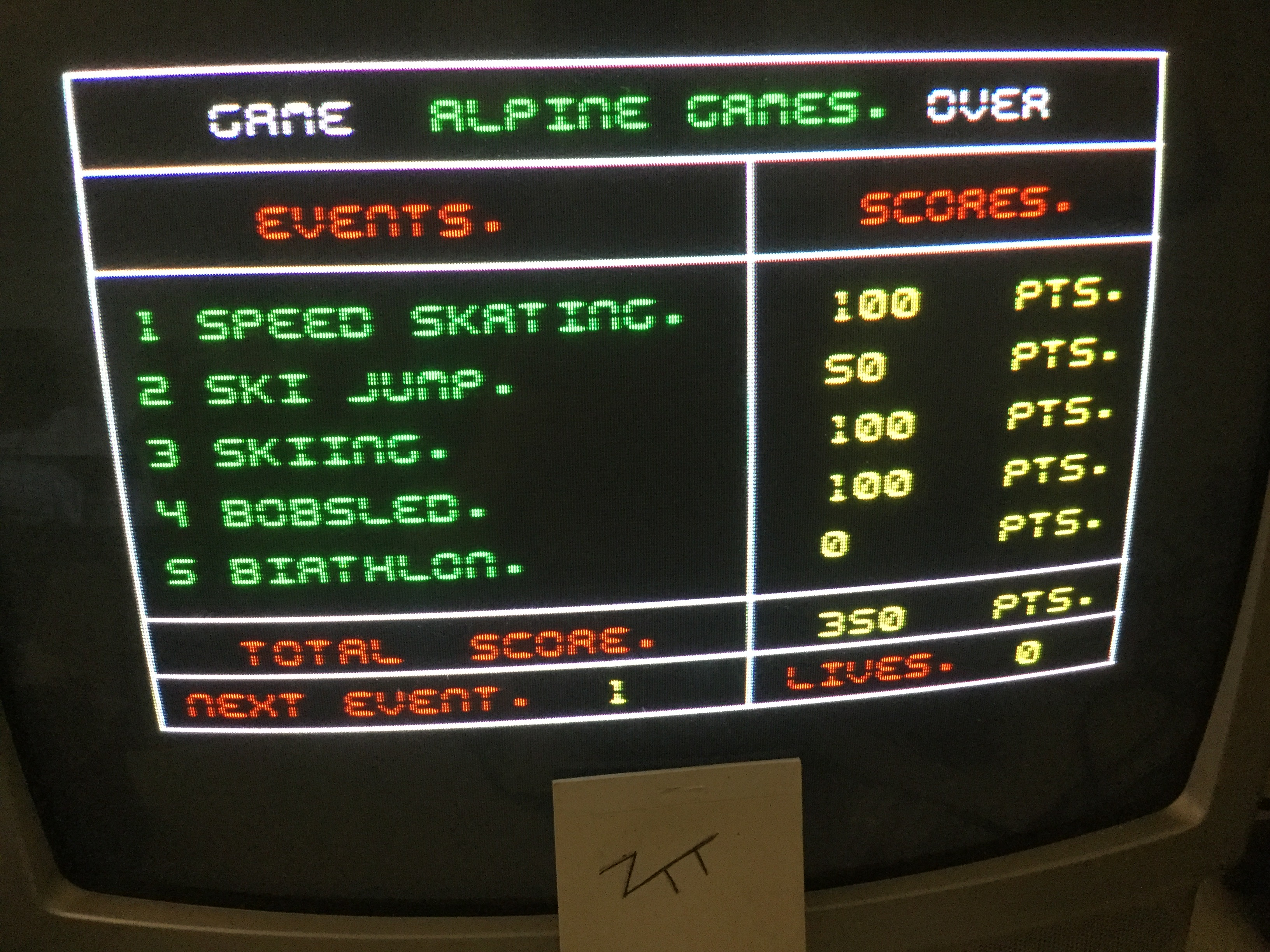 Frankie: Alpine Games [Easy] (ZX Spectrum) 350 points on 2017-06-12 12:40:49