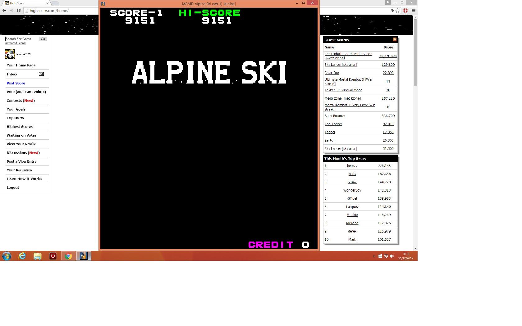 lenny2571: Alpine Ski [alpine] (Arcade Emulated / M.A.M.E.) 9,151 points on 2015-12-25 03:19:14