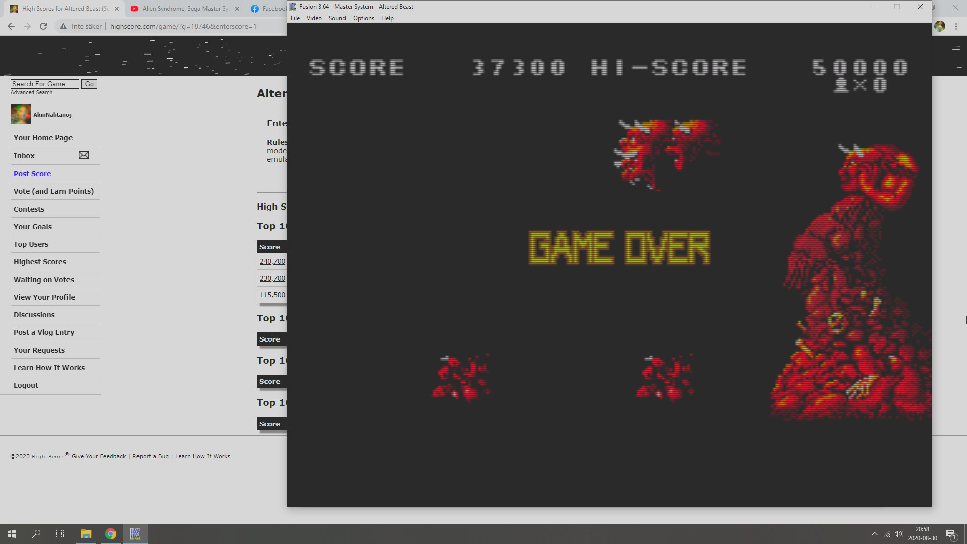 Altered Beast 37,300 points