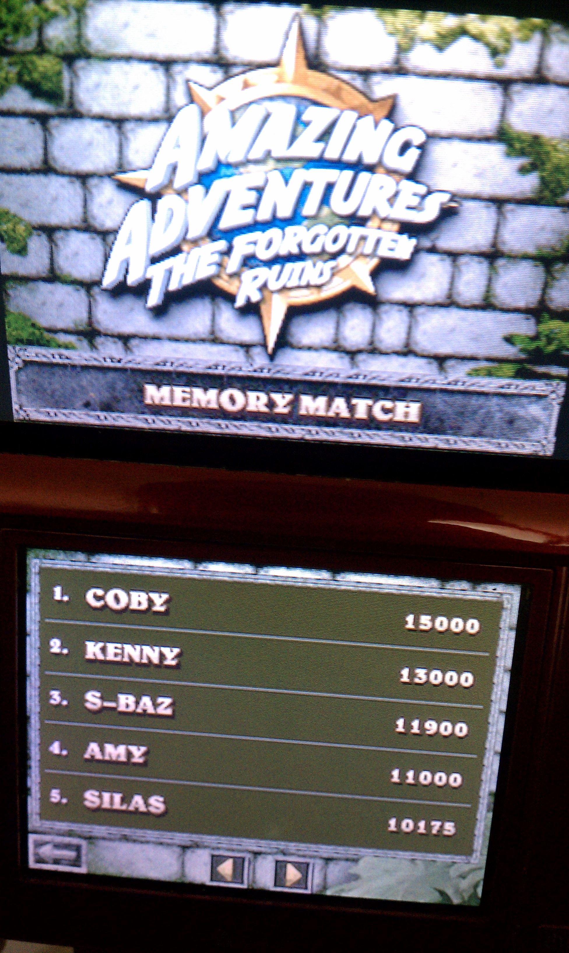 BAZ: Amazing Adventures: The Forgotten Ruins: Memory Match (Nintendo DS) 11,900 points on 2020-01-18 19:09:49