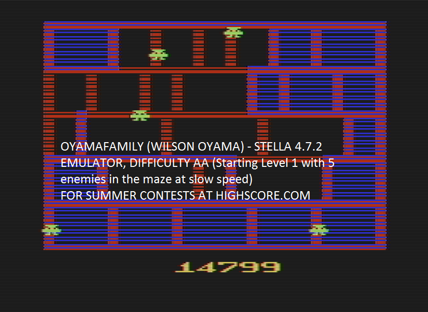 oyamafamily: Amidar (Atari 2600 Emulated Expert/A Mode) 14,799 points on 2016-08-01 21:05:27
