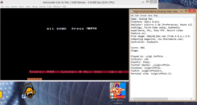 LuigiRuffolo: Analog Man (Atari 400/800/XL/XE Emulated) 985 points on 2020-07-29 15:18:23