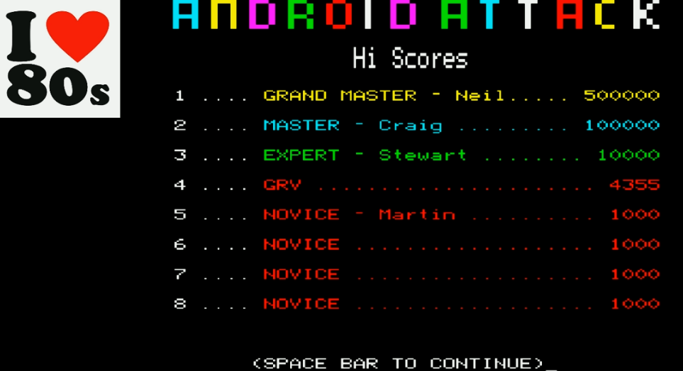Giorvam: Android Attack (BBC Micro Emulated) 4,355 points on 2018-01-29 13:27:33