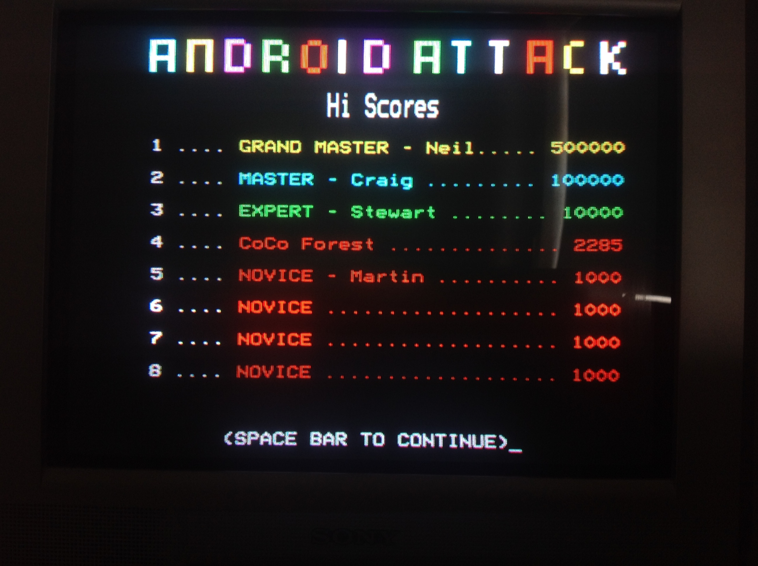 CoCoForest: Android Attack (BBC Micro) 2,285 points on 2018-07-10 06:52:59