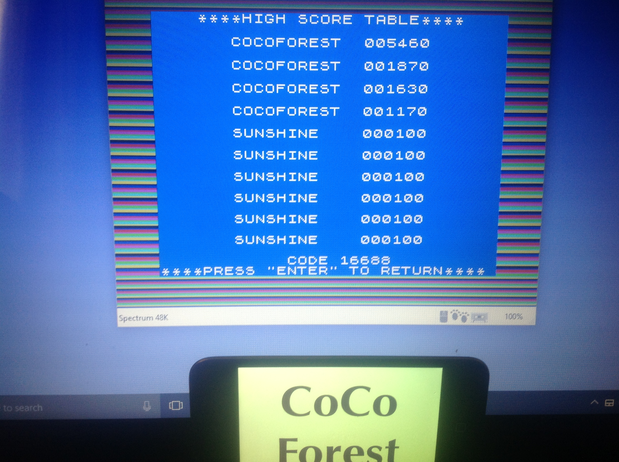 CoCoForest: Androids (ZX Spectrum Emulated) 5,460 points on 2018-01-19 03:40:54