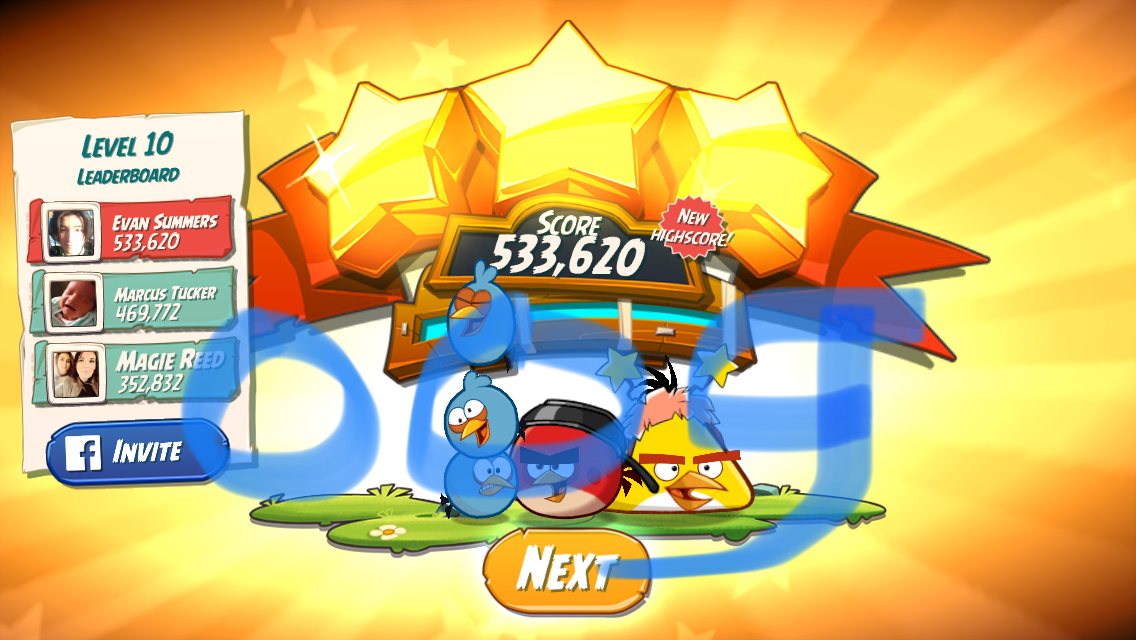 Angry Birds 2: Level 10 533,620 points