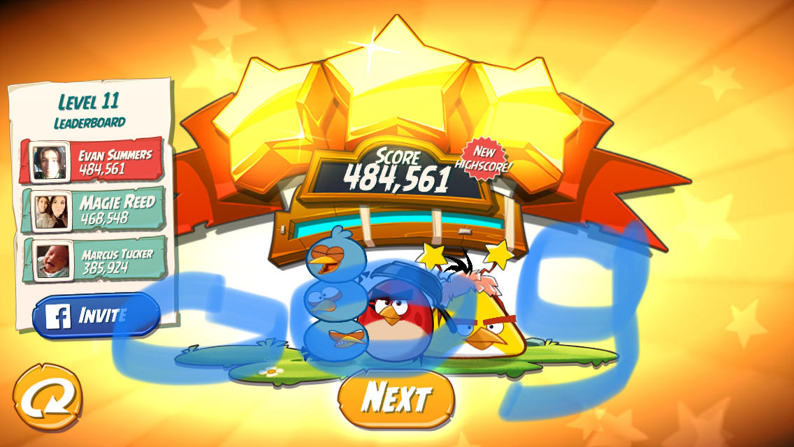 Angry Birds 2: Level 11 484,561 points