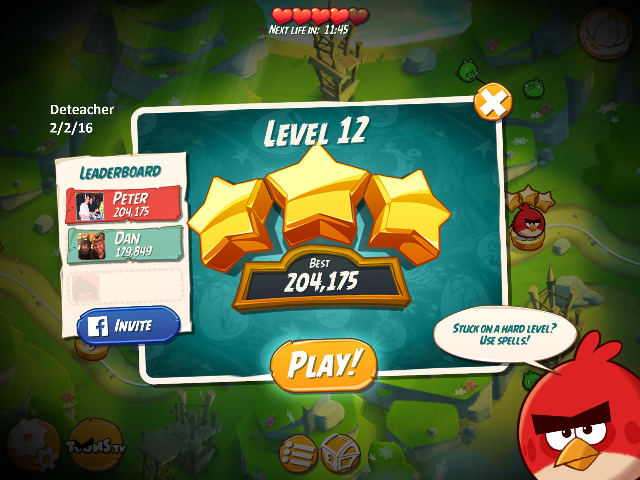Deteacher: Angry Birds 2: Level 12 (iOS) 204,175 points on 2016-02-02 18:38:13