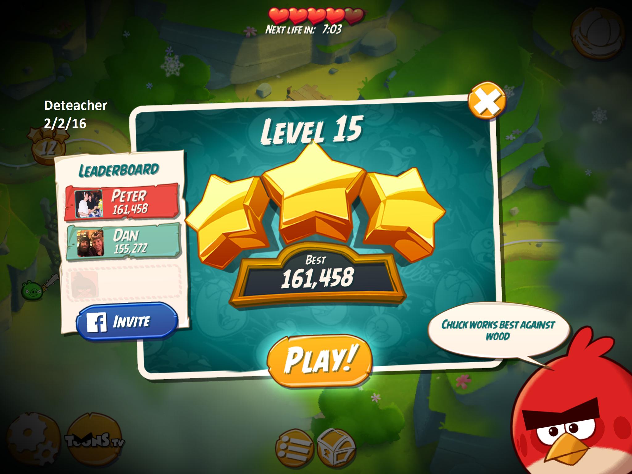 Deteacher: Angry Birds 2: Level 15 (iOS) 161,458 points on 2016-02-02 18:40:51