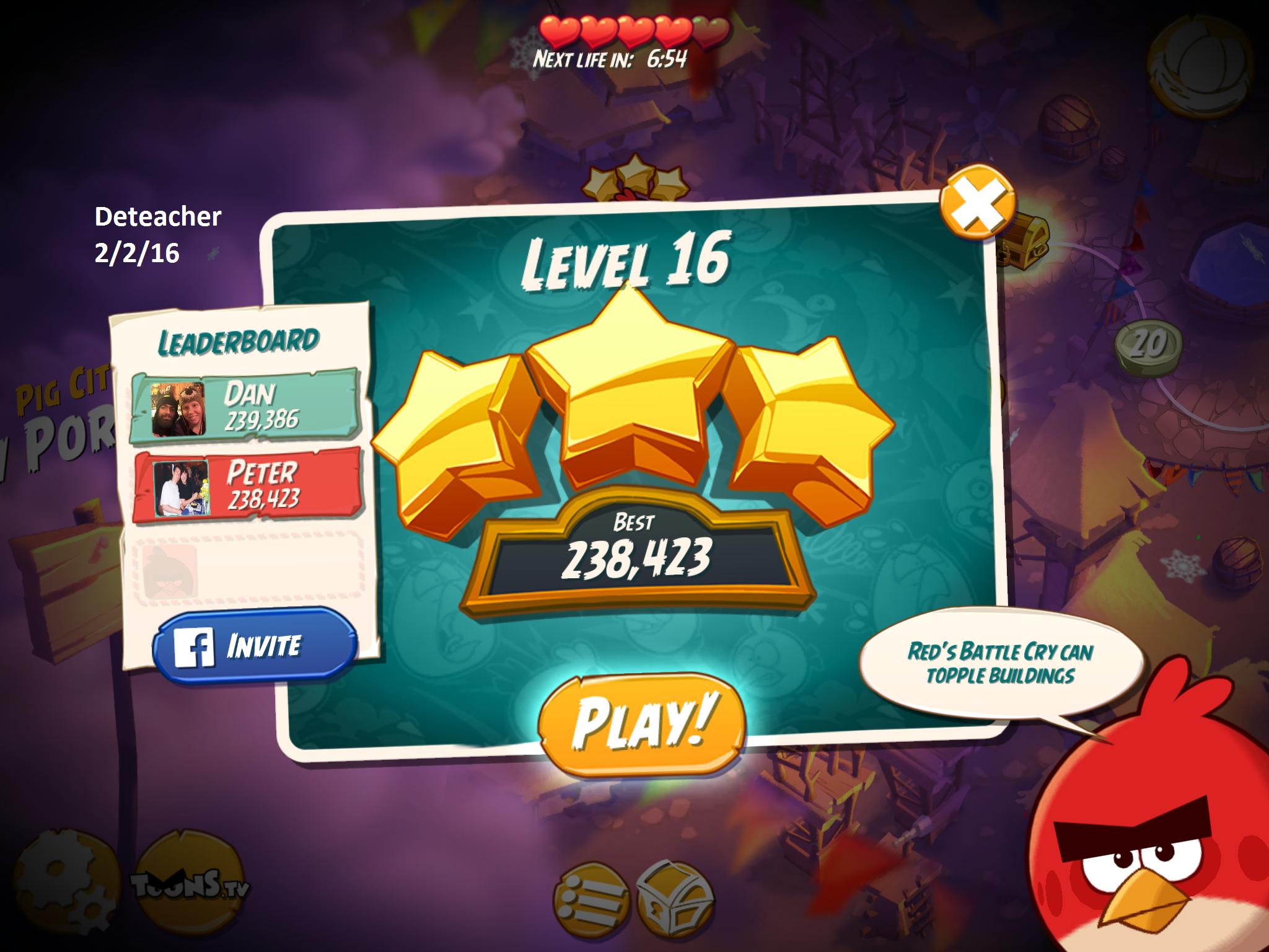 Deteacher: Angry Birds 2: Level 16 (iOS) 238,423 points on 2016-02-02 18:41:50