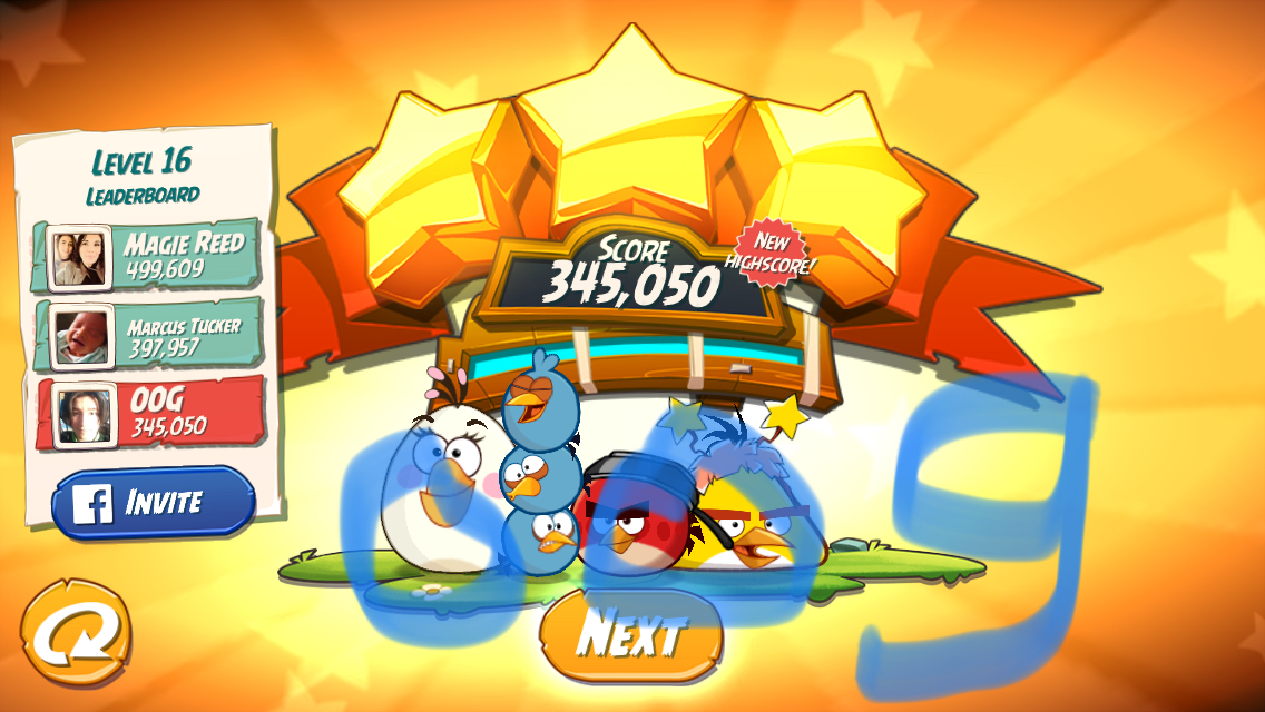 Angry Birds 2: Level 16 345,050 points