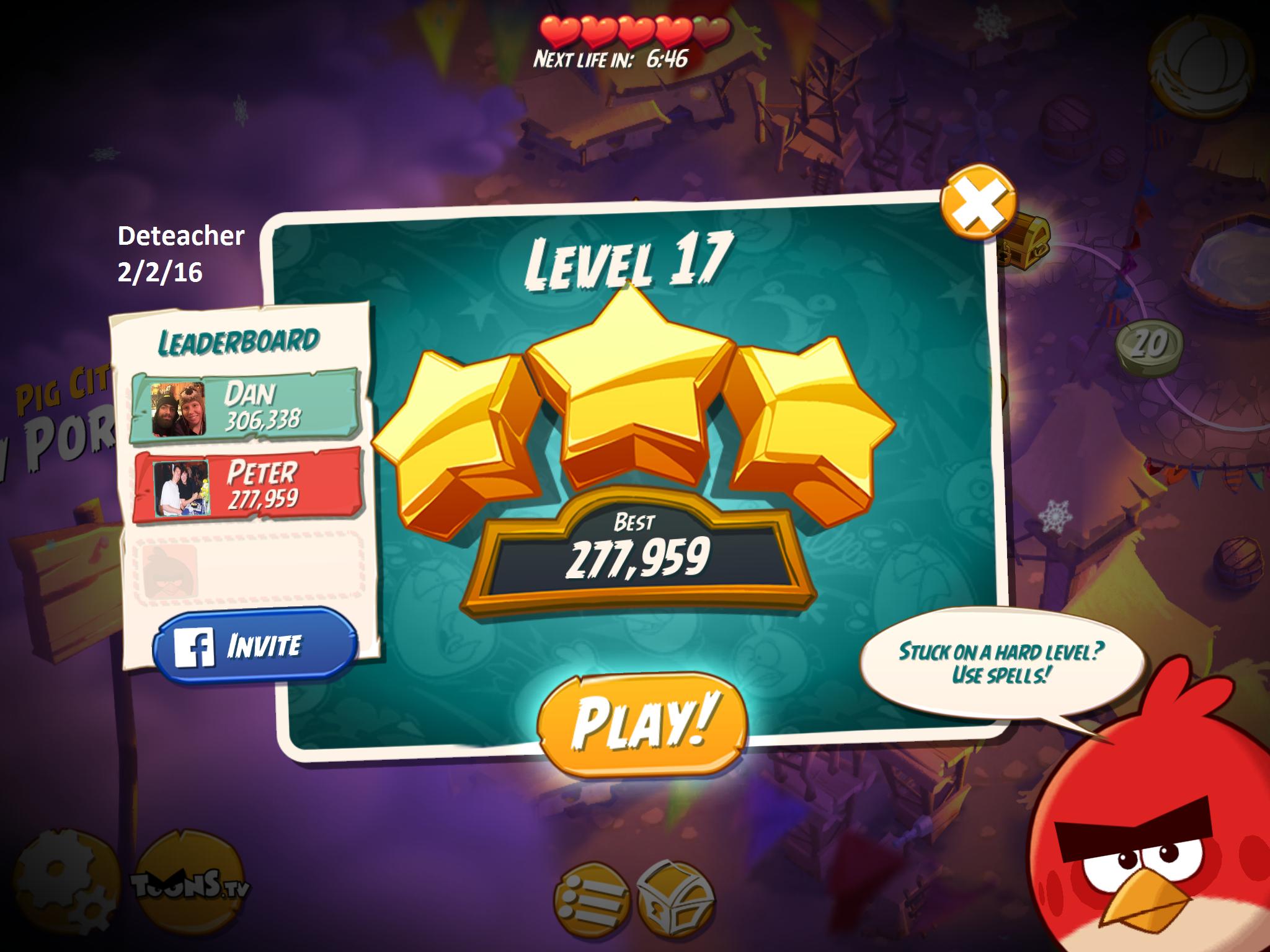 Deteacher: Angry Birds 2: Level 17 (iOS) 277,959 points on 2016-02-02 18:42:50