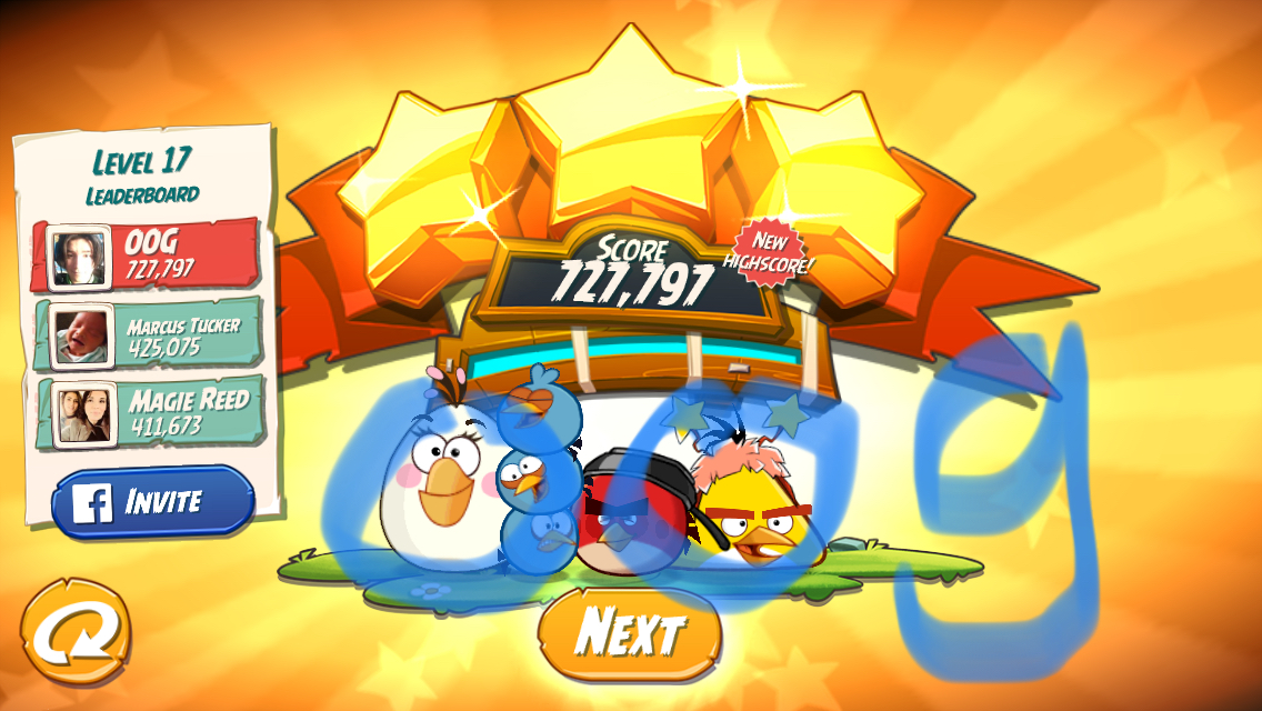 Angry Birds 2: Level 17 727,797 points