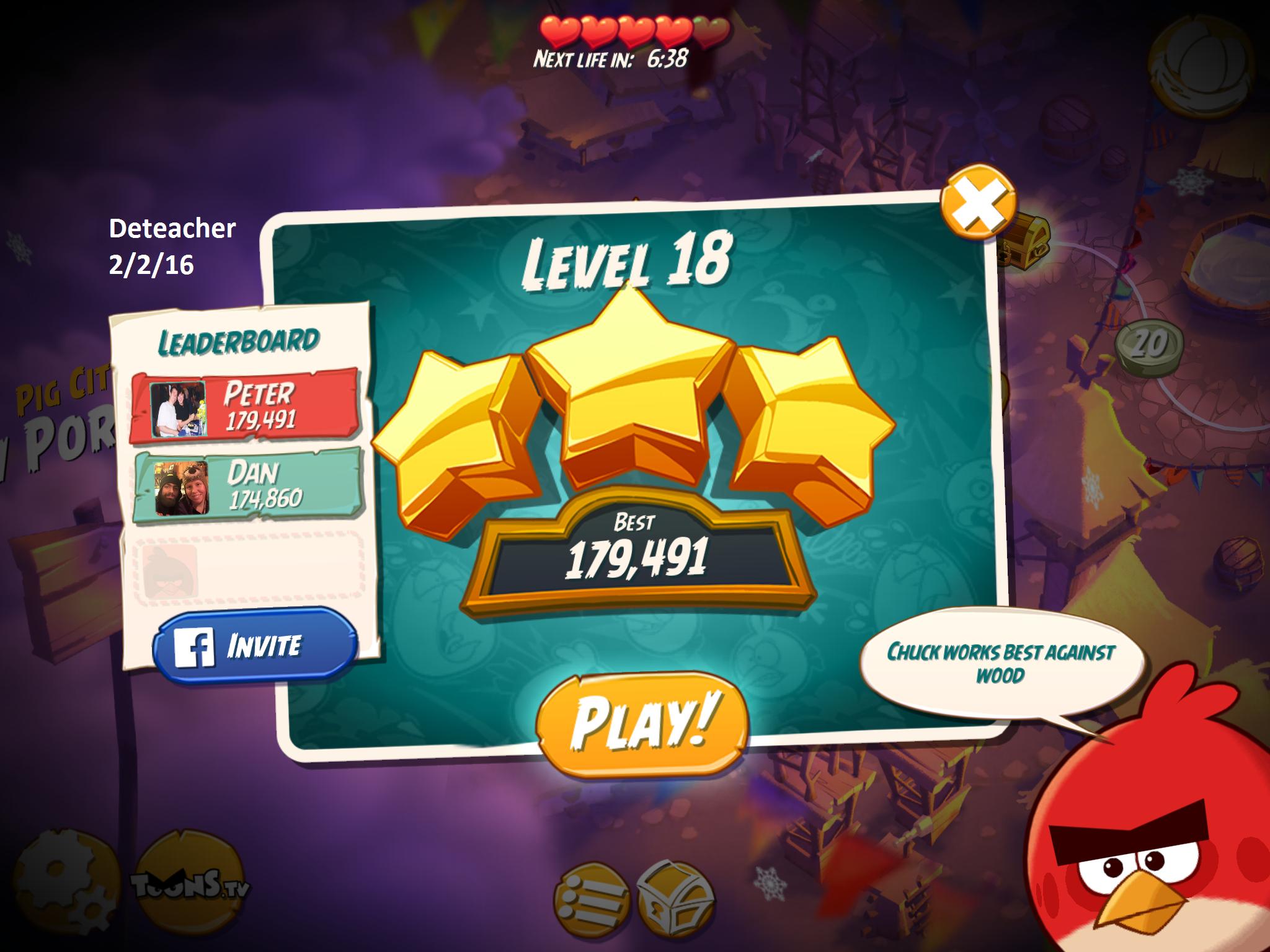 Deteacher: Angry Birds 2: Level 18 (iOS) 179,491 points on 2016-02-02 18:43:49