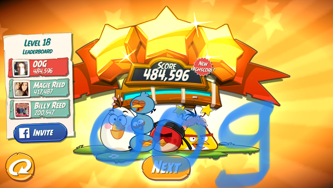 Angry Birds 2: Level 18 484,596 points