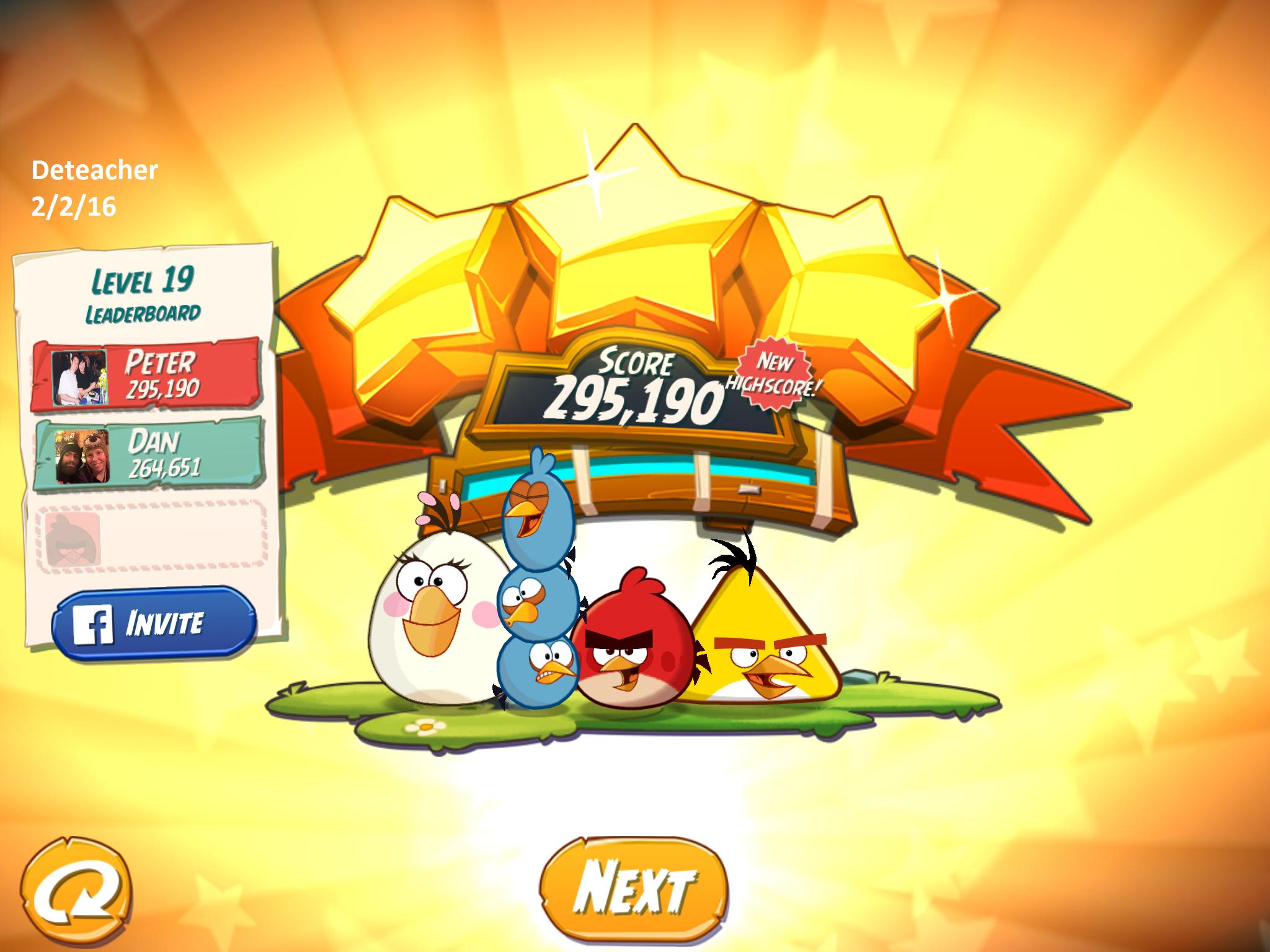 Deteacher: Angry Birds 2: Level 19 (iOS) 295,190 points on 2016-02-02 18:45:18