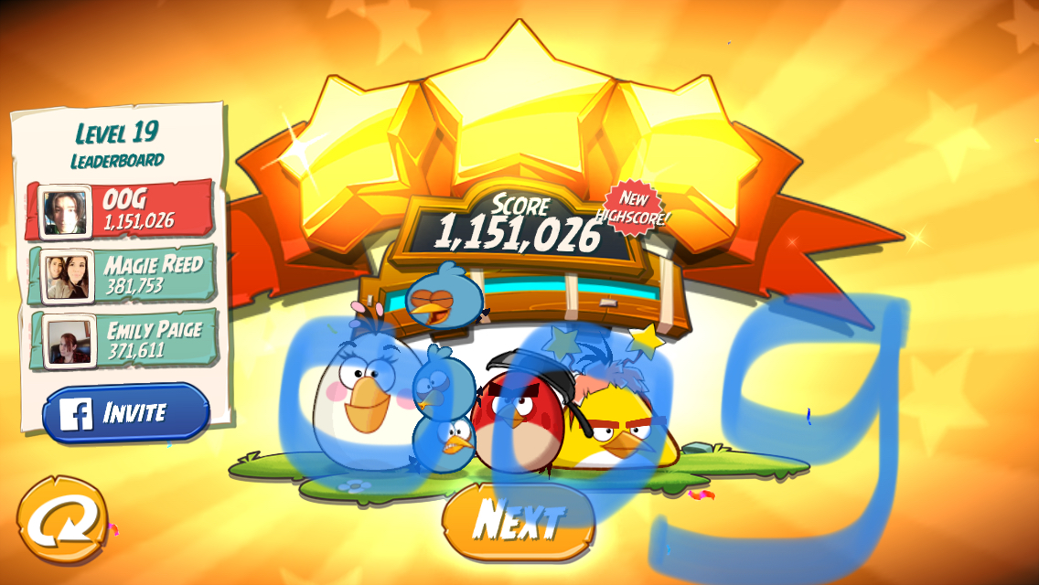 Angry Birds 2: Level 19 1,151,026 points