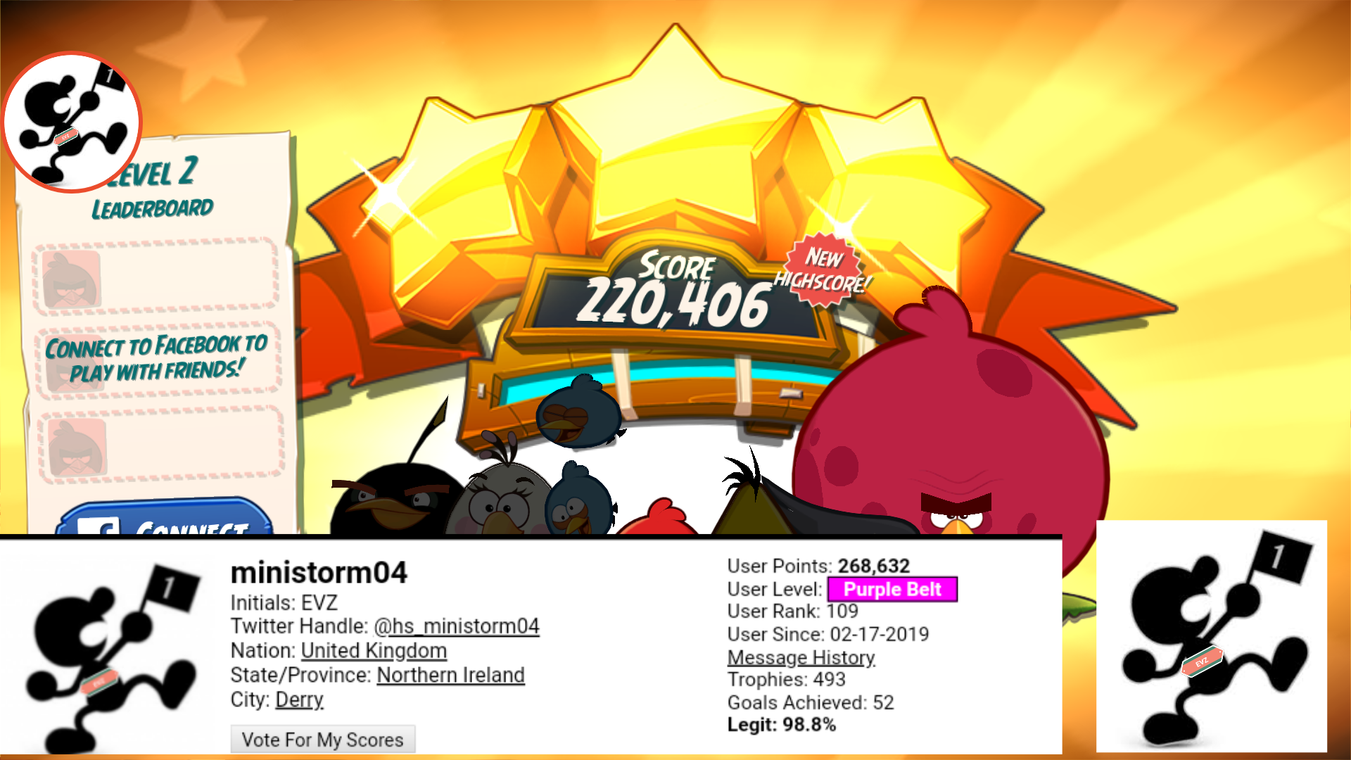 ministorm04: Angry Birds 2: Level 2 (Android) 220,406 points on 2019-07-08 07:22:33