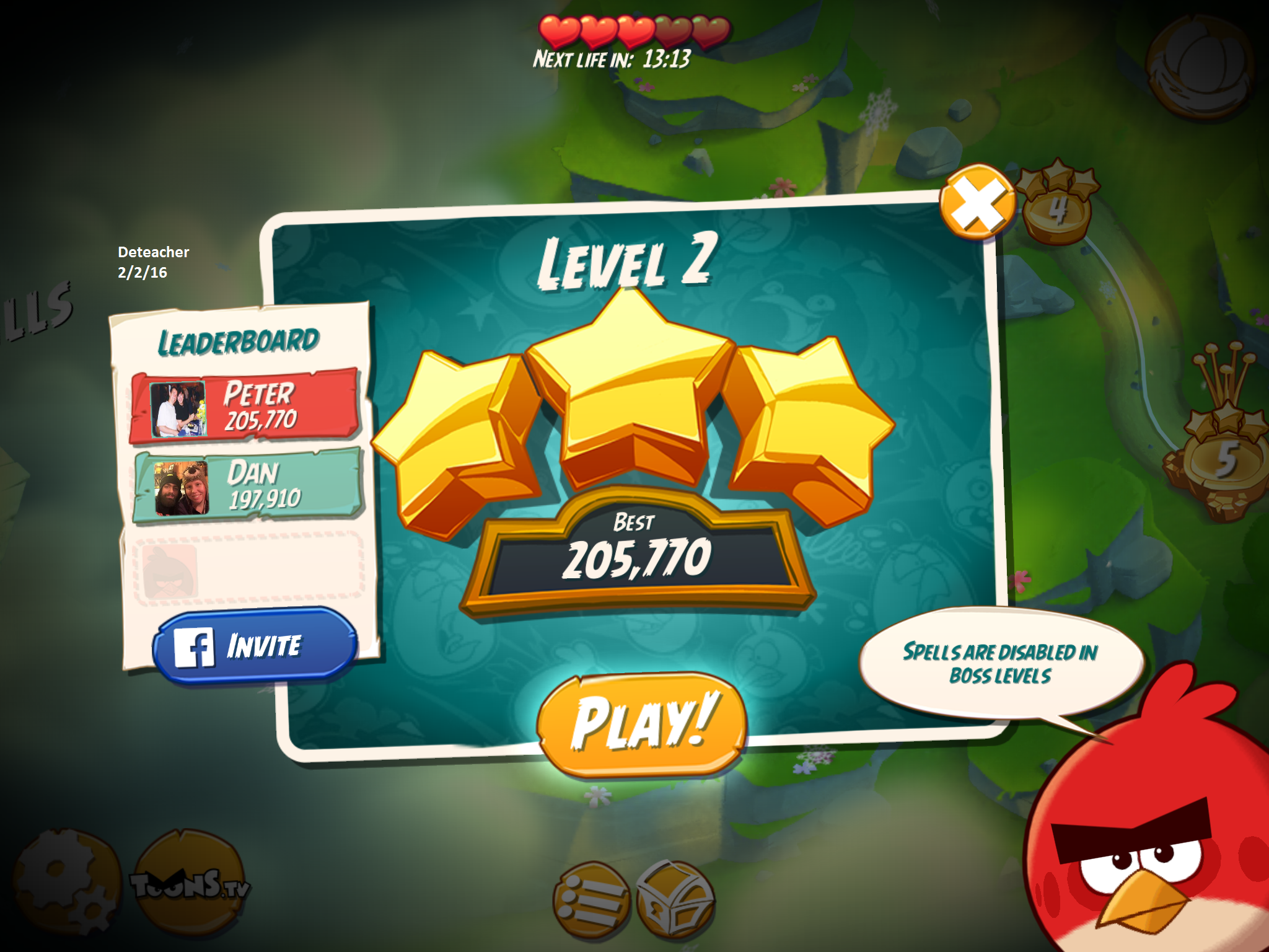 Deteacher: Angry Birds 2: Level 2 (iOS) 205,770 points on 2016-02-02 18:16:50