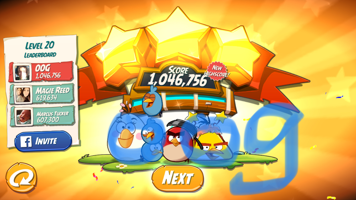 OOG: Angry Birds 2: Level 20 (iOS) 1,046,756 points on 2018-02-28 17:08:31