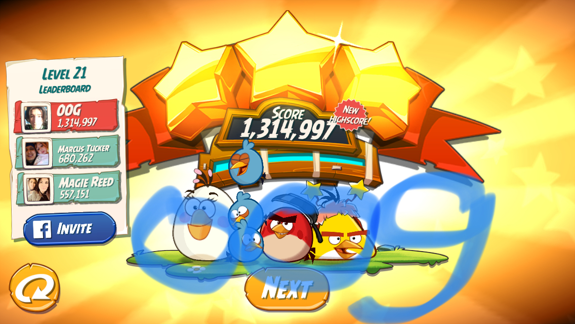 Angry Birds 2: Level 21 1,314,997 points