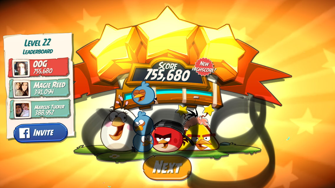 OOG: Angry Birds 2: Level 22 (iOS) 755,680 points on 2018-03-07 16:24:50
