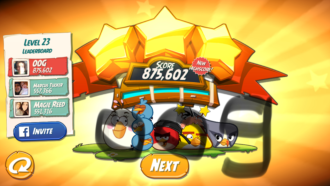 Angry Birds 2: Level 23 875,602 points