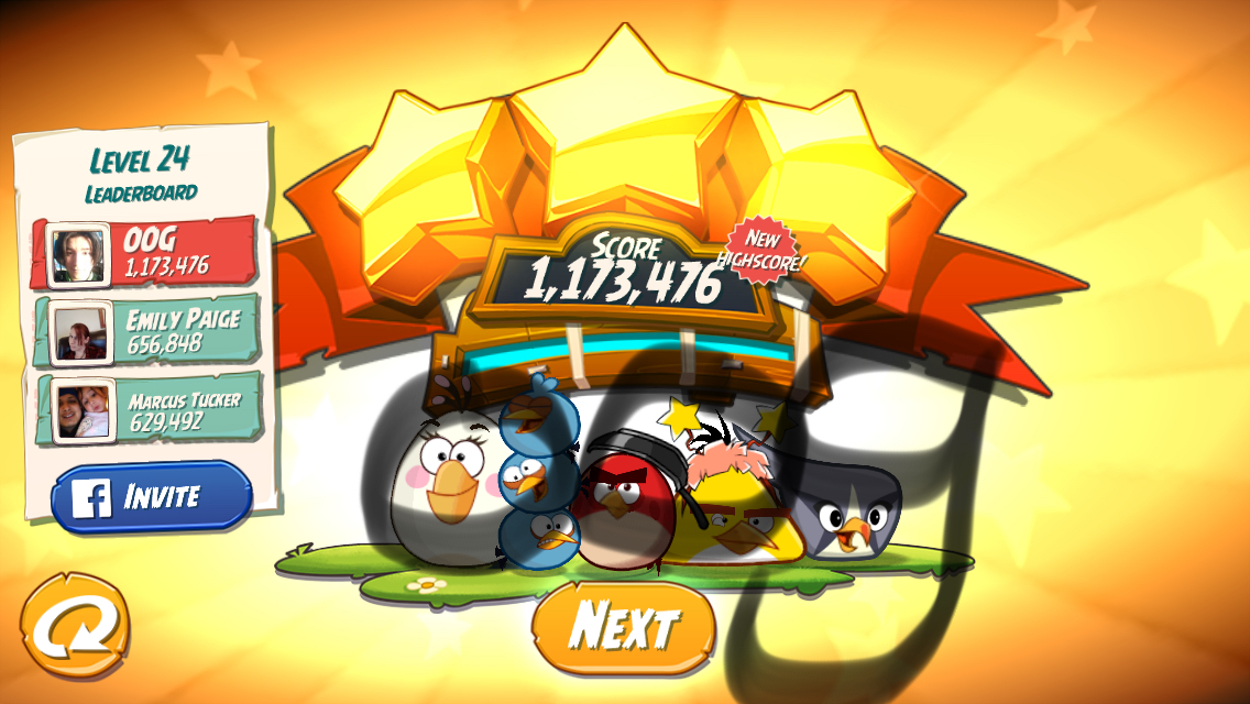 Angry Birds 2: Level 24 1,173,476 points