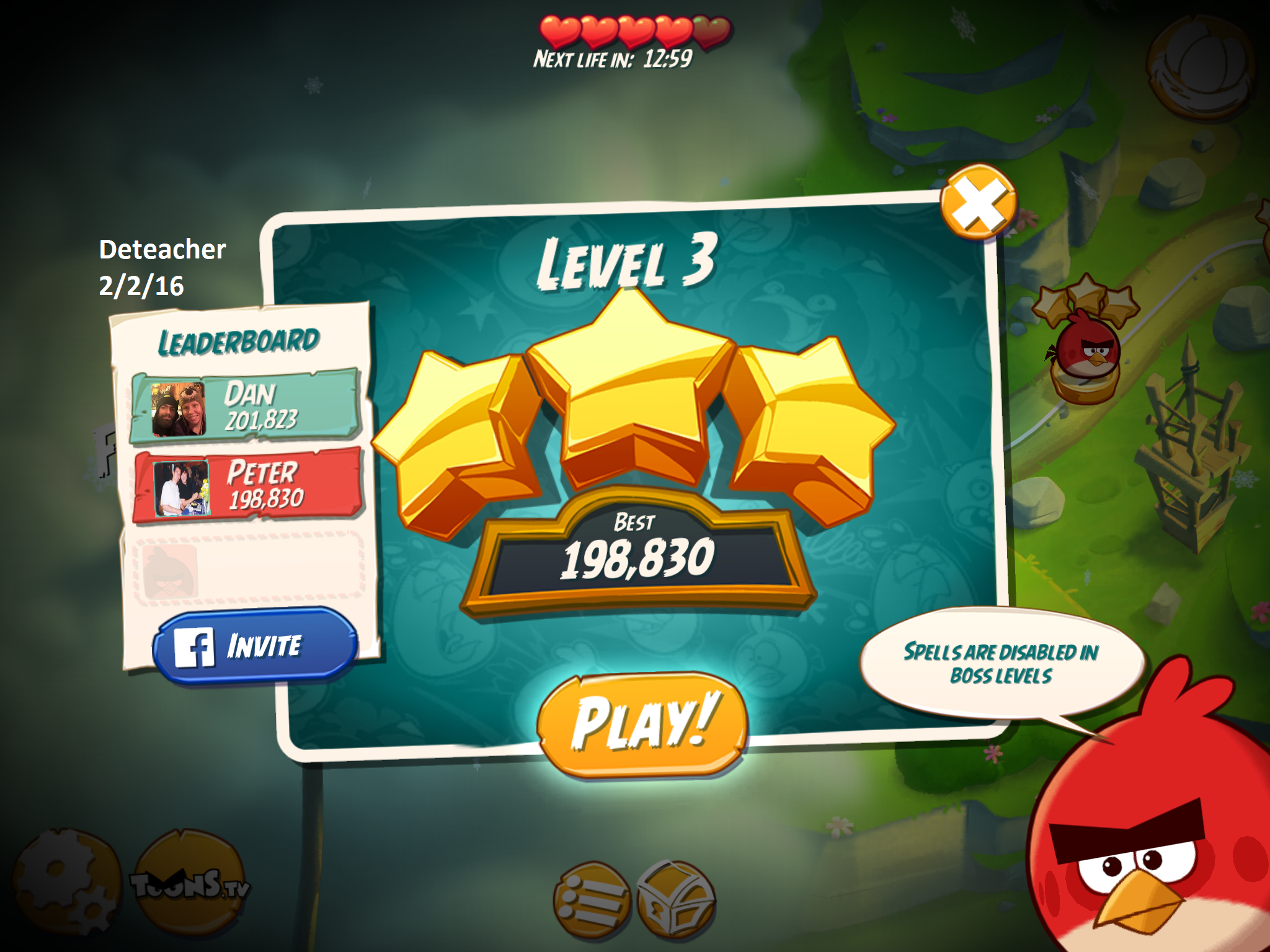 Deteacher: Angry Birds 2: Level 3 (iOS) 198,830 points on 2016-02-02 18:18:15