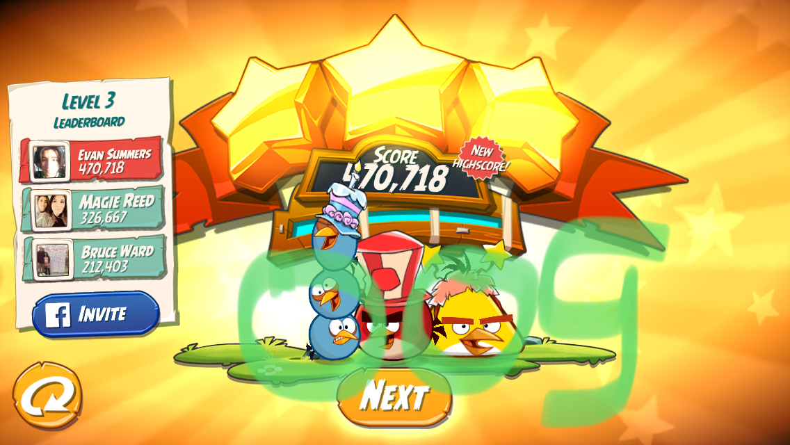 Angry Birds 2: Level 3 470,718 points