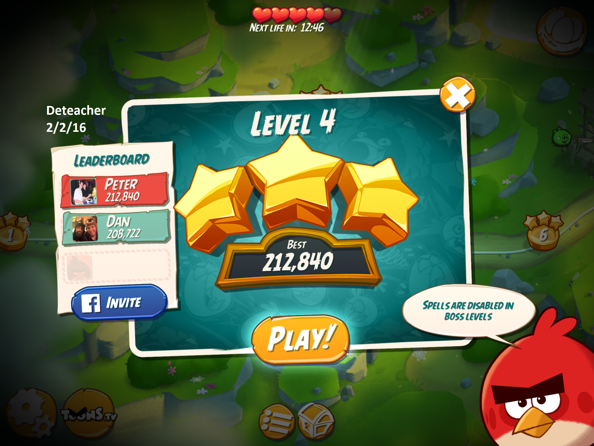 Deteacher: Angry Birds 2: Level 4 (iOS) 212,840 points on 2016-02-02 18:20:24