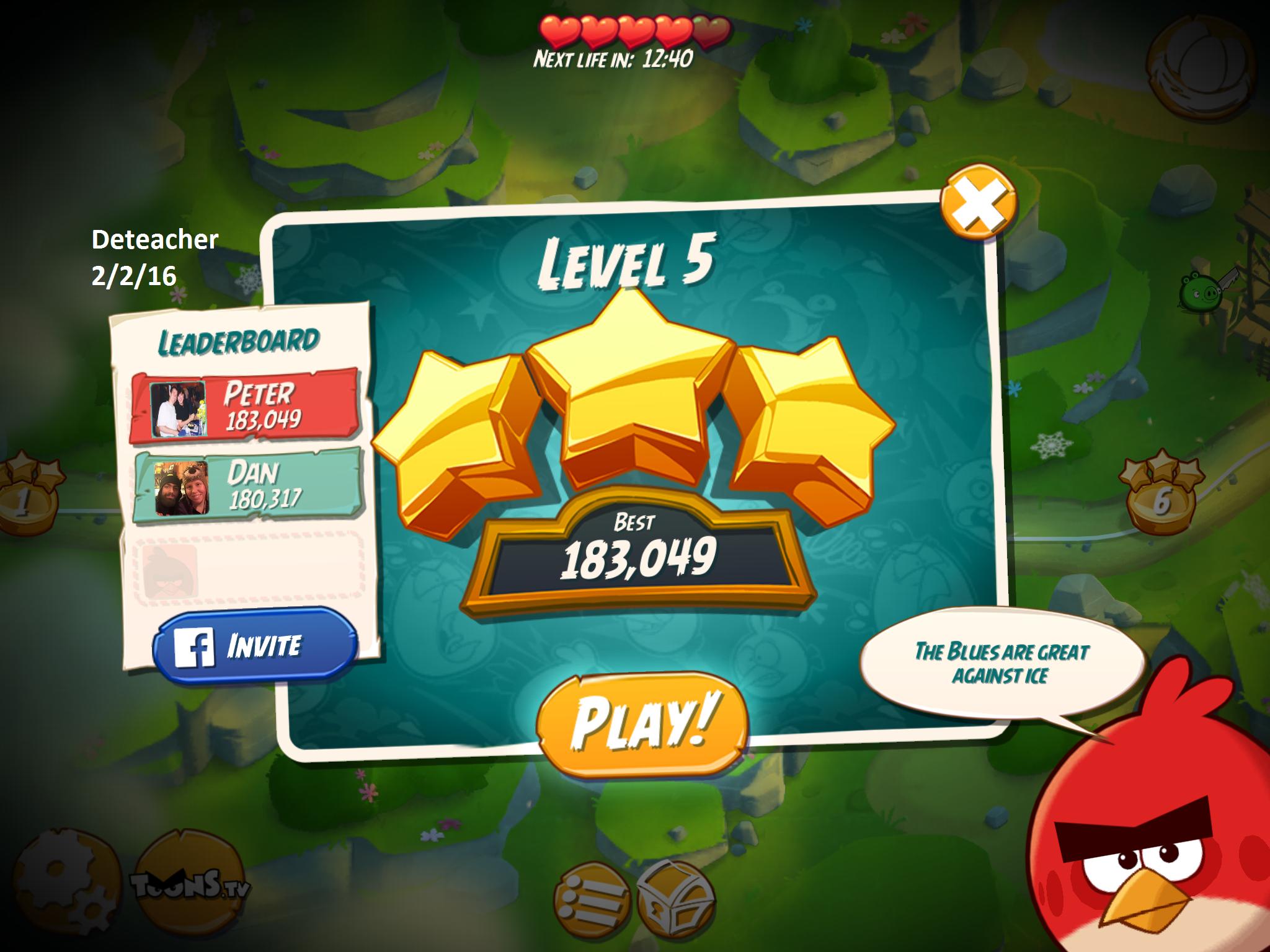 Deteacher: Angry Birds 2: Level 5 (iOS) 183,049 points on 2016-02-02 18:21:55