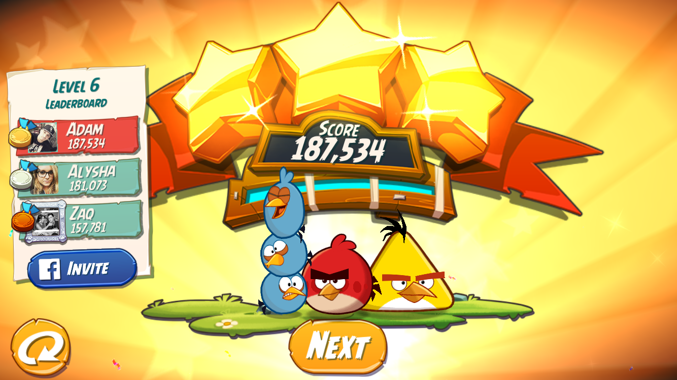 Angry Birds 2: Level 6 187,534 points